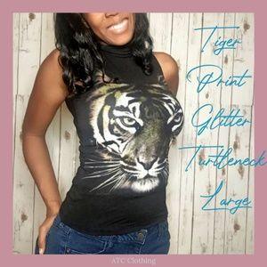 A3 The Classic Tiger Glitter Print Turtleneck Larg